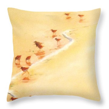 Sandpiper Promenage Throw Pillow by Mary Hubley