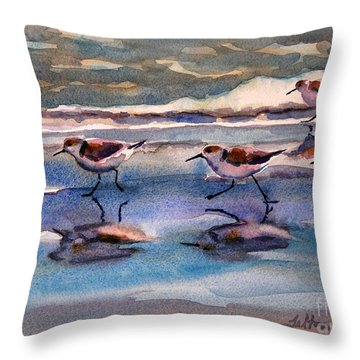 Sandpipers Running In Beach Shade 3-10-15 Throw Pillow