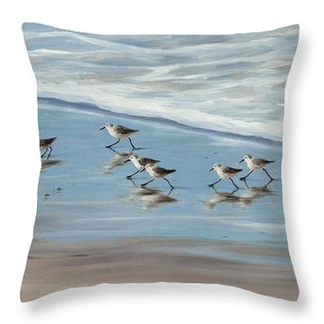 Sandpipers Throw Pillow by Tina Obrien