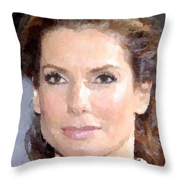 Sandra Bullock Portrait Throw Pillow