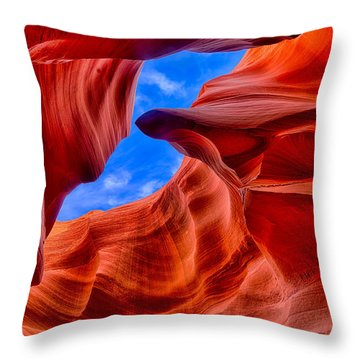 Sandstone Curves In Antelope Canyon Throw Pillow by Greg Norrell