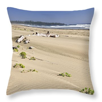 Sandy Beach On Pacific Ocean In Canada Throw Pillow by Elena Elisseeva