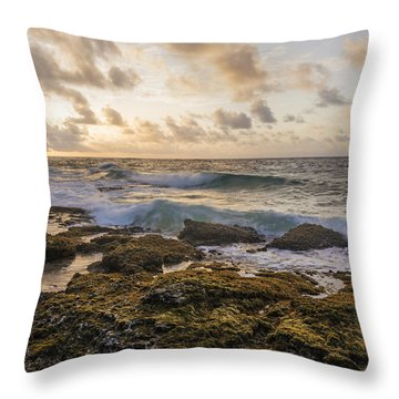 Sandy Beach Sunrise 2 - Oahu Hawaii Throw Pillow by Brian Harig