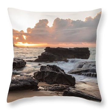 Sandy Beach Sunrise 6 Throw Pillow by Leigh Anne Meeks