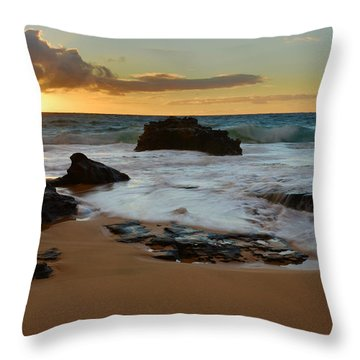 Sandy Beach Sunrise 7 - Oahu Hawaii Throw Pillow by Brian Harig