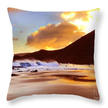 Sandy Beach Sunset Throw Pillow