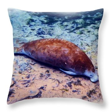 Sandy Bottom Manatee 2 Throw Pillow