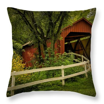 Sandy Creek Bridge Near Hillsboro Mo Dsc06888 Throw Pillow