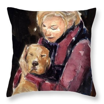 Throw Pillow featuring the painting Sandy Grace And Me by Molly Poole