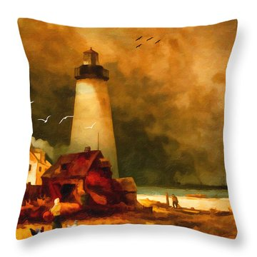 Sandy Hook Lighthouse - After Moran Throw Pillow by Lianne Schneider