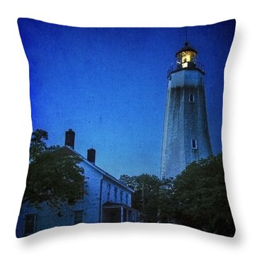 Throw Pillow featuring the photograph Sandy Hook Lighthouse At Twilight by Debra Fedchin