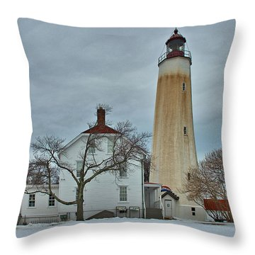 Sandy Hook Lighthouse In Winter Throw Pillow by Steven Richman