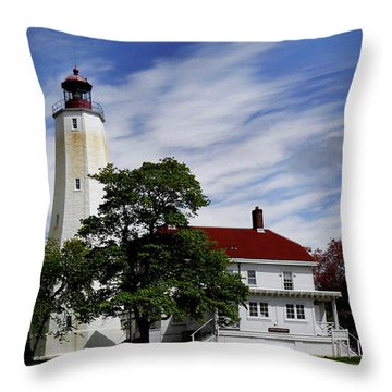Sandy Hook Lighthouse Nj Throw Pillow by Skip Willits