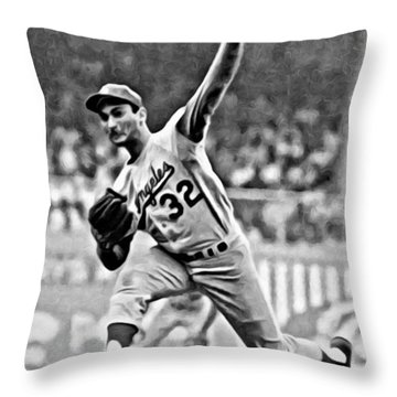 Sandy Koufax Throwing The Ball Throw Pillow