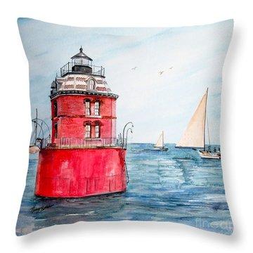 Sandy Point Lighthouse 2 Throw Pillow