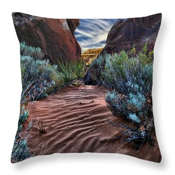 Sandy Trail Arches National Park Throw Pillow by Gary Warnimont