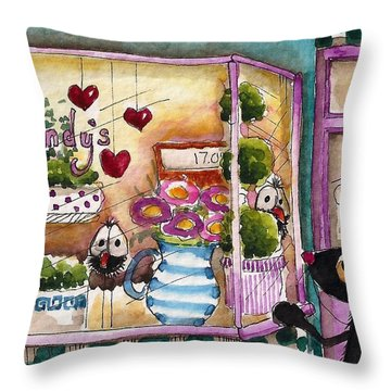 Sandy's Floral Shop Throw Pillow by Lucia Stewart