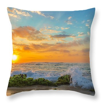 Sandy Beach Sunrise 3 Throw Pillow by Leigh Anne Meeks