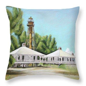 Sanibel Lighthouse Throw Pillow by Melinda Saminski