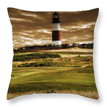 Sankaty Head Lighthouse In Nantucket Throw Pillow