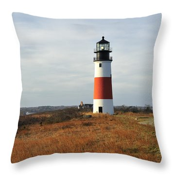 Sankaty Head Lighthouse Nantucket In Autumn Colors Throw Pillow