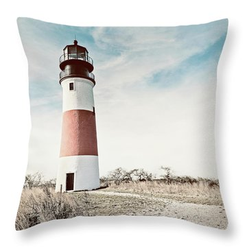 Sankaty Head Lighthouse Nantucket  Throw Pillow