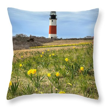 Sankaty Lighthouse Nantucket Throw Pillow