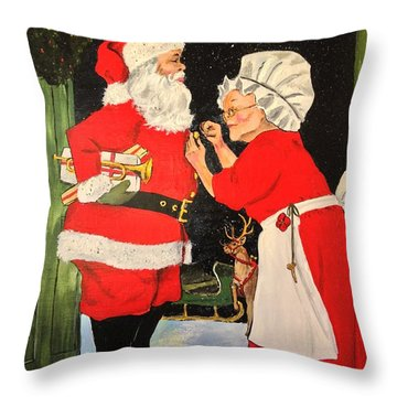 Santa And Mrs Throw Pillow