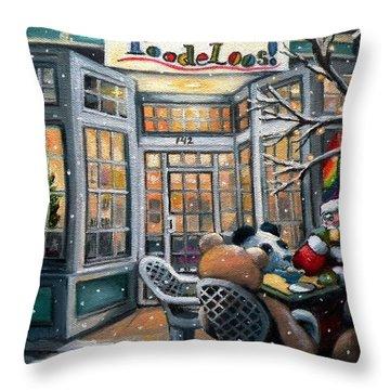 Santa At Toodeloos Toy Store Throw Pillow
