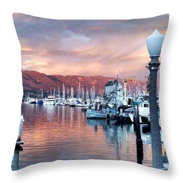 Santa Barbara Harbor Sunset Throw Pillow