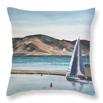 Throw Pillow featuring the painting Santa Barbara Sailing by Ian Donley