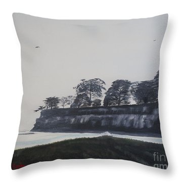 Throw Pillow featuring the painting Santa Barbara Shoreline Park by Ian Donley