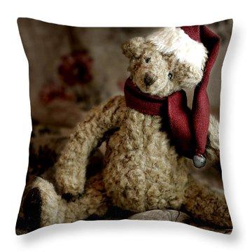 Santa Bear Throw Pillow by Carol Leigh