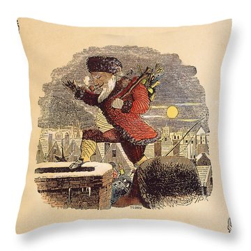 Santa Claus, 1848 Throw Pillow by Granger