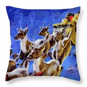 Santa Claus And Reindeer Throw Pillow by Georgi Dimitrov
