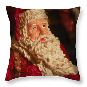Santa Claus - Antique Ornament - 01 Throw Pillow by Jill Reger