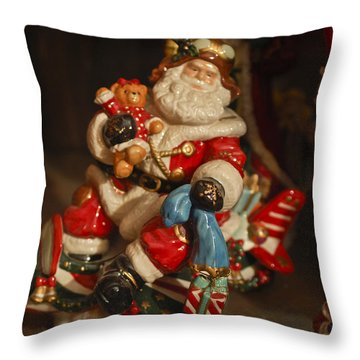Santa Claus - Antique Ornament -05 Throw Pillow by Jill Reger