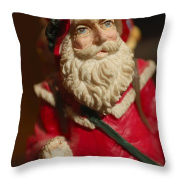 Santa Claus - Antique Ornament - 21 Throw Pillow by Jill Reger