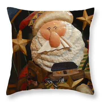 Santa Claus - Antique Ornament - 27 Throw Pillow by Jill Reger