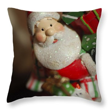 Santa Claus - Antique Ornament - 28 Throw Pillow by Jill Reger