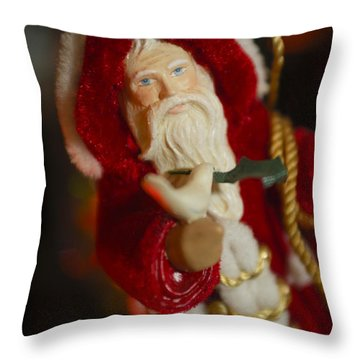 Santa Claus - Antique Ornament - 32 Throw Pillow by Jill Reger