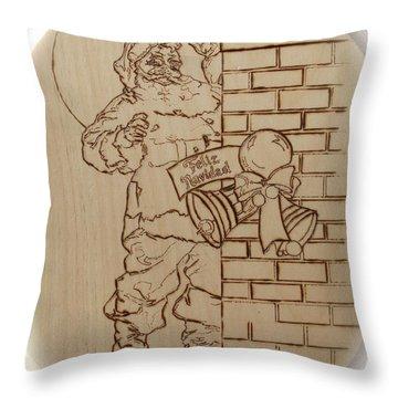 Santa Claus - Feliz Navidad Throw Pillow by Sean Connolly