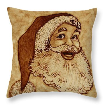 Santa Claus Joyful Face Throw Pillow by Georgeta  Blanaru