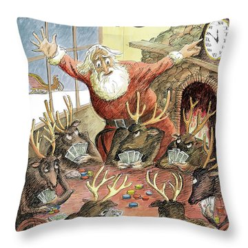 Santa Claus Rushed To Get His Reindeer Ready Throw Pillow