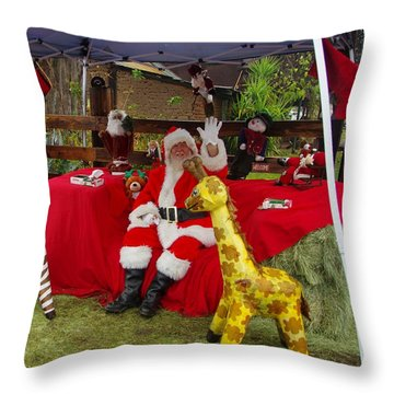 Santa Clausewith The Animals Throw Pillow