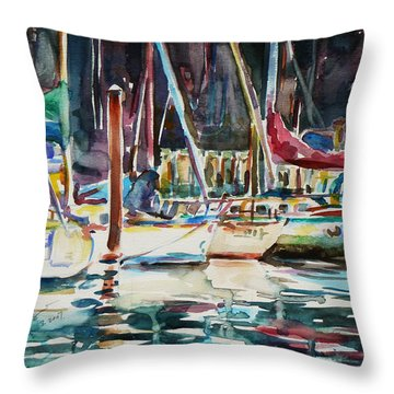 Throw Pillow featuring the painting Santa Cruz Dock by Xueling Zou