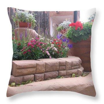 Throw Pillow featuring the photograph Santa Fe Adobe Patio by Dora Sofia Caputo Photographic Art and Design
