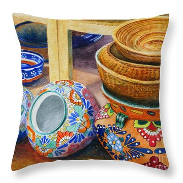 Santa Fe Hold 'em Pots And Baskets Throw Pillow