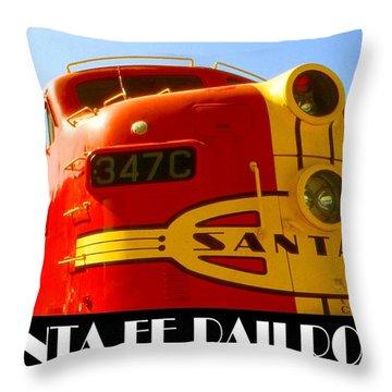 Santa Fe Railroad Color Poster Throw Pillow