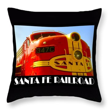 Santa Fe Railroad Color Poster Throw Pillow